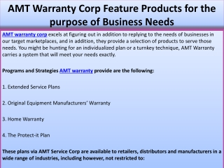 AMT Warranty Corp Feature Products for the purpose of Busine