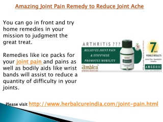 Amazing Joint Pain Remedy to Reduce Joint Ache