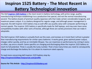 Inspiron 1525 Battery - The Most Recent in Battery Technolog