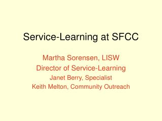 Service-Learning at SFCC