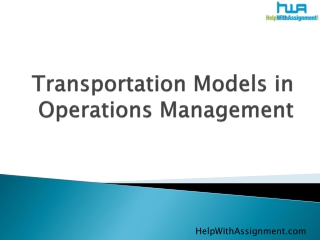 transportation models in operations management from helpwith