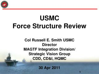 USMC  Force Structure Review   Col Russell E. Smith USMC Director  MAGTF Integration Division