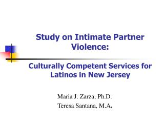 Study on Intimate Partner Violence: Culturally Competent ...