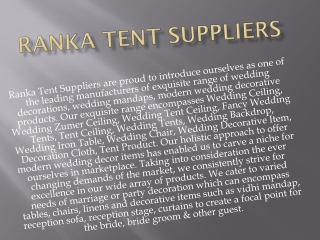 Ranka Tent Suppliers