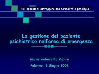 La gestione del paziente psichiatrico nell