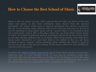 How to Choose the Best School of Music?