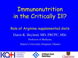 Immunonutrition in the Critically Ill Role of Arginine ...