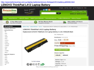 LENOVO ThinkPad L412 Laptop Battery