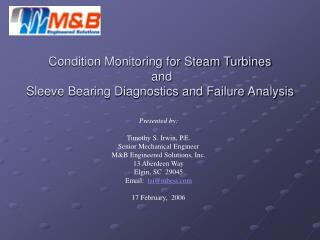 Condition Monitoring for Steam Turbines and Sleeve Bearing ...