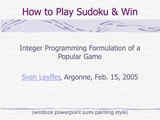 How to Play Sudoku  Win