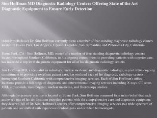 sim hoffman md diagnostic radiology centers offering state o