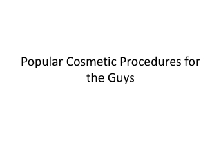 Popular Plastic Surgery Procedures for Men