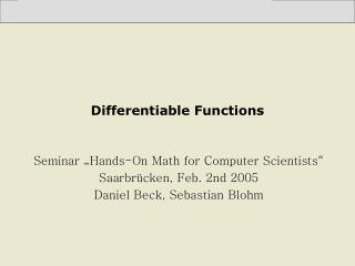 Differentiable Functions
