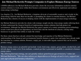 jan michael berkowitz prompts companies to explore biomass e