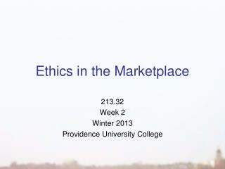 Ethics in the Marketplace