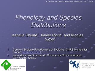 Phenology and Species Distributions