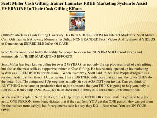 scott miller cash gifting trainer launches free marketing sy
