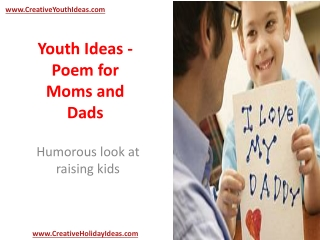 Youth Ideas - Poem for Moms and Dads