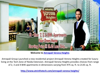 Amrapali Verona Heights Noida Extension Offers 2 BHK Flats