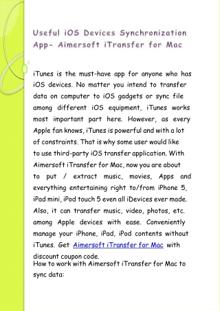 Useful iOS Devices Synchronization App- Aimersoft iTransfer