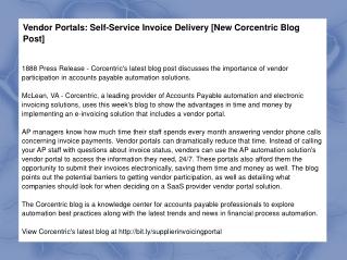 Vendor Portals: Self-Service Invoice Delivery [New Corcentri