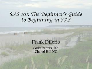 SAS 101: The Beginner