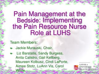 Pain Management at the Bedside: Implementing  the Pain Resource Nurse  Role at LUHS