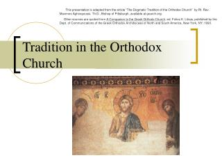 Tradition in the Orthodox Church