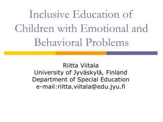Inclusive Education of Children with Emotional and Behavioral ...