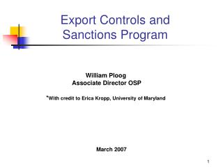 Export Controls and Sanctions Program