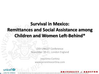 Survival in Mexico: Remittances and Social Assistance among Children and Women Left-Behind