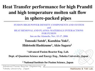 Heat Transfer performance for high Prandtl and high temperature ...