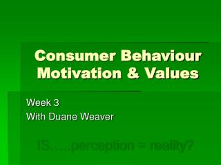 Consumer Behaviour Motivation  Values