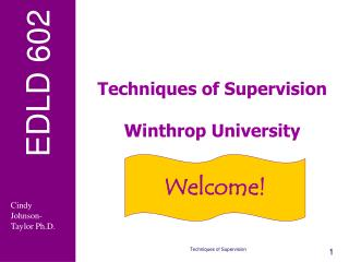 Techniques of Supervision  Winthrop University