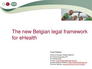 The new Belgian legal framework for eHealth