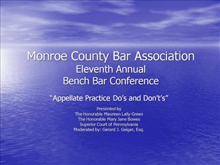 Monroe County Bar Association Eleventh Annual  Bench Bar Conference