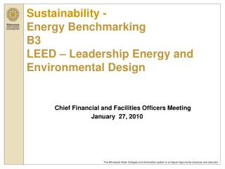 Sustainability - Energy Benchmarking B3 LEED