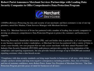 robert parisi announces merchant services partnerships with