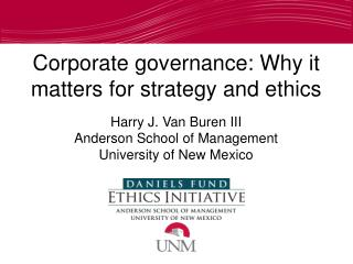 Harry J. Van Buren III Anderson School of Management University of New Mexico