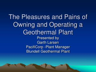 The Pleasures and Pains of Owning and Operating a Geothermal Plant