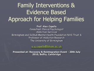 Family Interventions  Evidence Based Approach for Helping Families