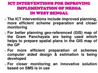 ICT INTERVENTIONS FOR IMPROVING IMPLEMENTATION OF NREGA IN ...