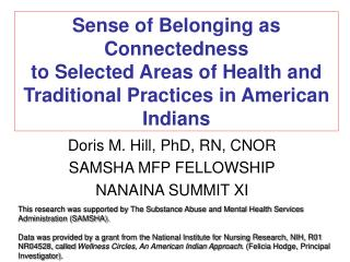 Sense of Belonging as Connectedness to Selected Areas of Health and Traditional Practices in American Indians