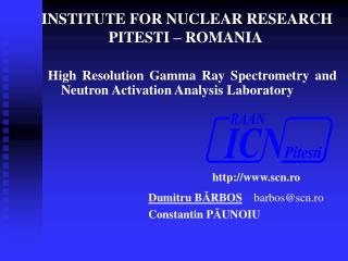 INSTITUTE FOR NUCLEAR RESEARCH