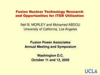 Fusion Nuclear Technology Research and Opportunities for ITER ...