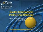 Quality Improvement Partnership Offerings