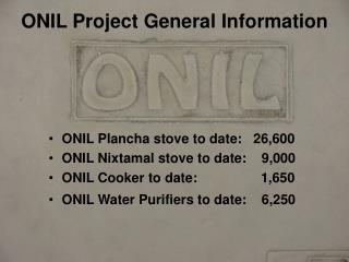 ONIL Project General Information