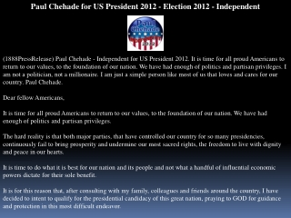 paul chehade for us president 2012 - election 2012 - indepen