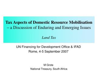 Tax Aspects of Domestic Resource Mobilisation