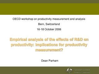 OECD workshop on productivity measurement and analysis Bern ...